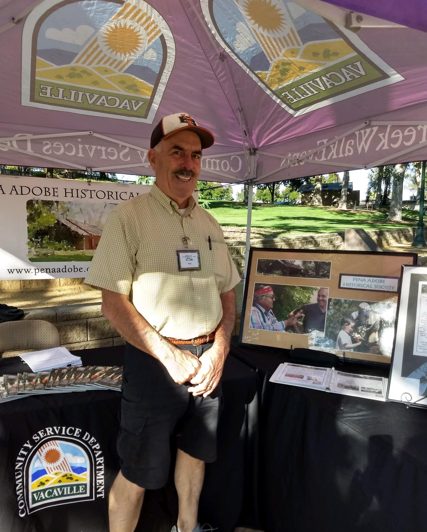 Peña Adobe Historical Society Volunteer, Paul Ahearn at Vacaville's 3rd Thursday Market!