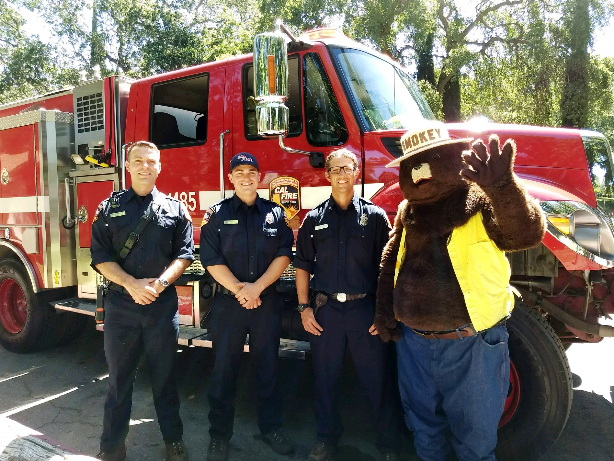 Smokey Bear and members of the CAL Fire Gordon Valley Station