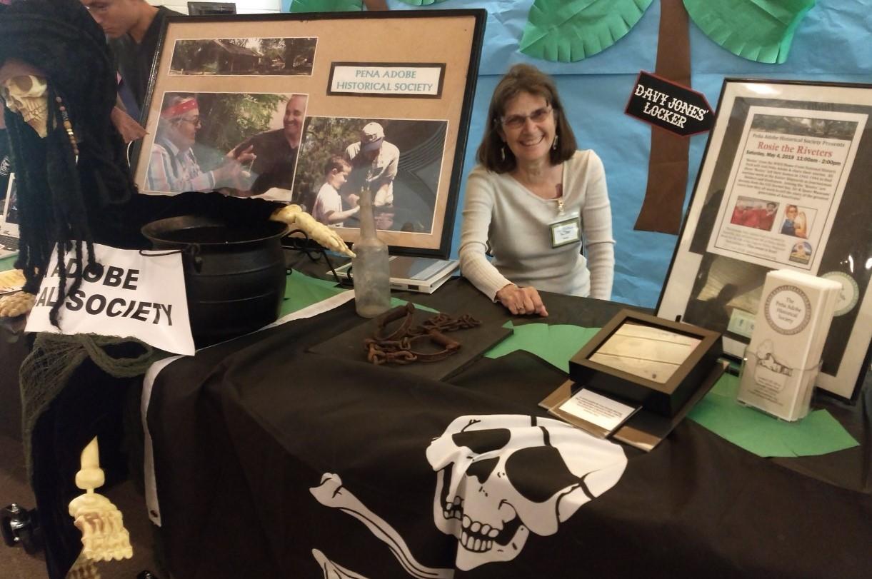 Peña Adobe Historical Society Volunteer Rosie greets Expo Pirates!
